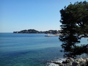 Cap Ferrat viewed from beach in Beaulieu