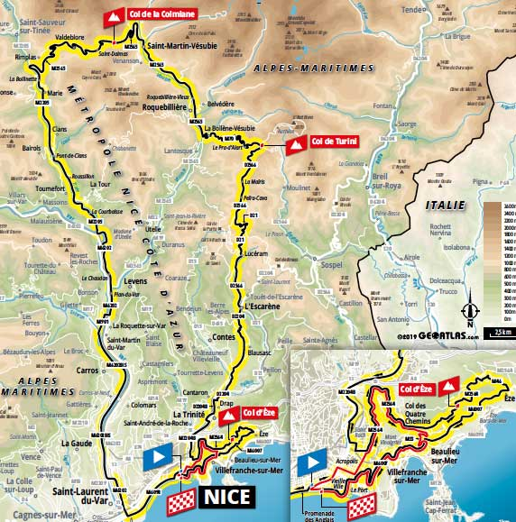 Stage 2 parcours of the 2020 Tour de France