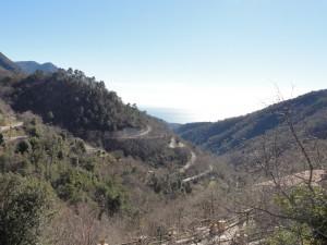 Col de Castillon hairpins and sea in background