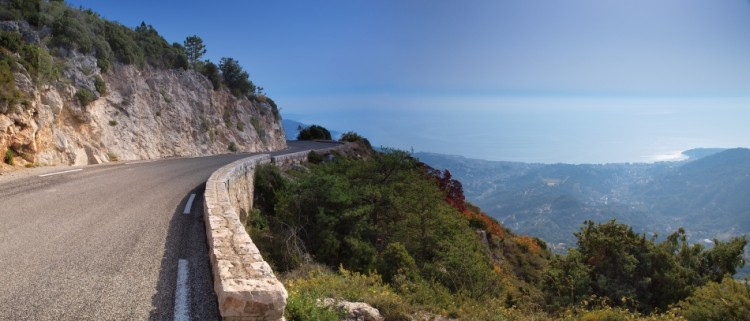 Final view of Menton and the coast as the climb heads North to the summit of the Col de la Madone