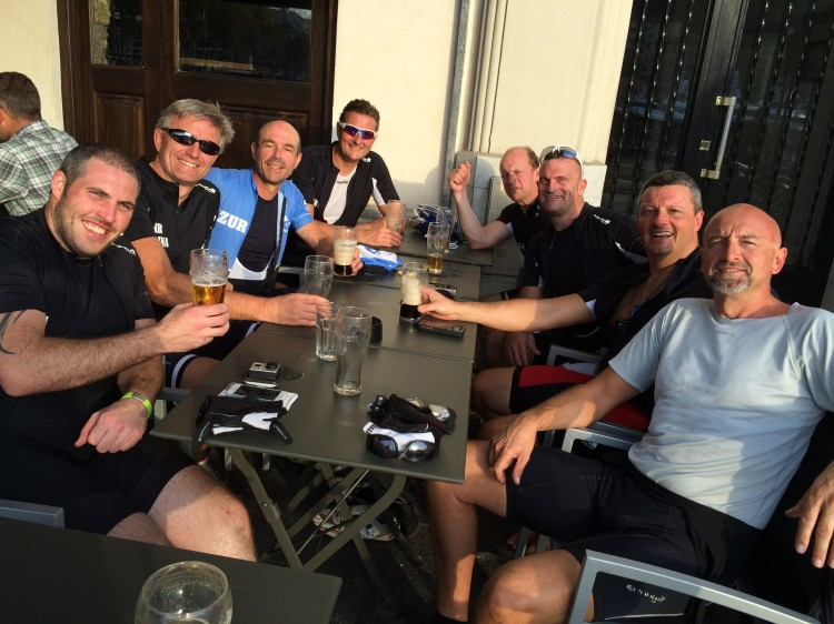 Enjoying a beer after a great ride