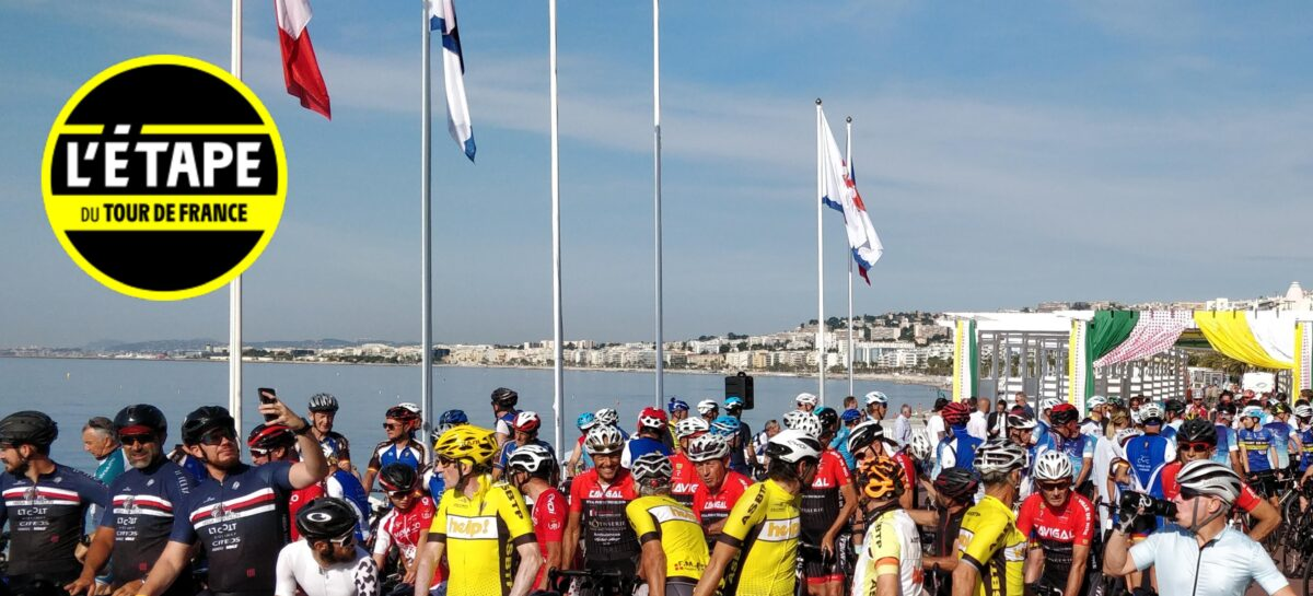 A gathering of cyclists on the Promenade des Anglais in Nice, the location for the start of the 2021 Etape du Tour