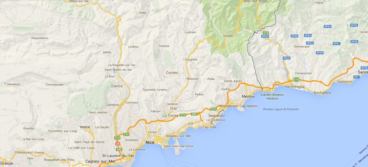 Map of Côte d'Azur