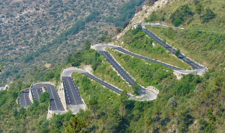 Stacked hairpins of the Col de Braus