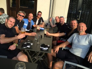 group having a beer in nice