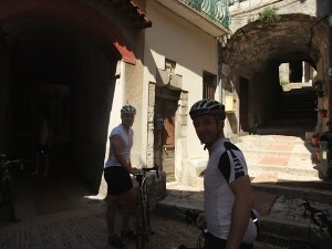 streets of peille with Hamish and Andy