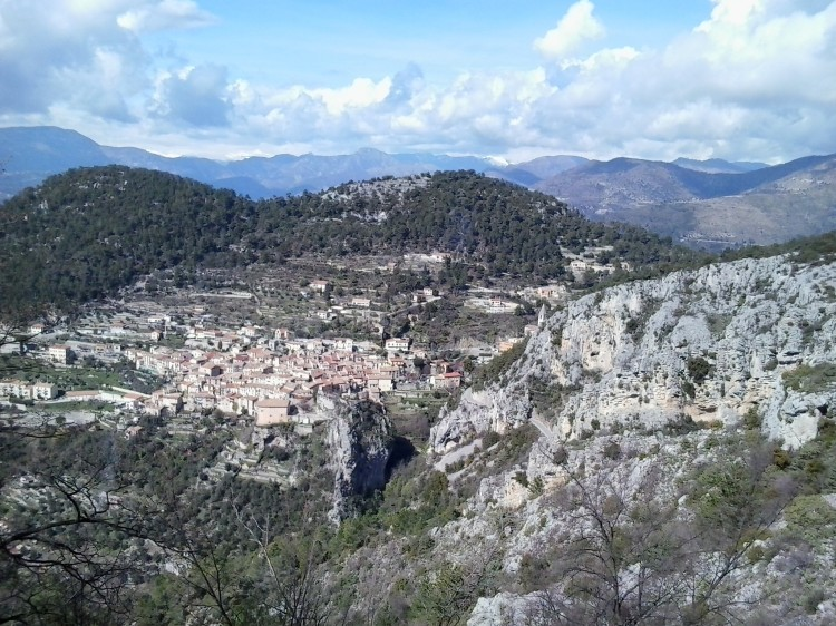 Village of Peille viewed from the descent of the Col de la Madone