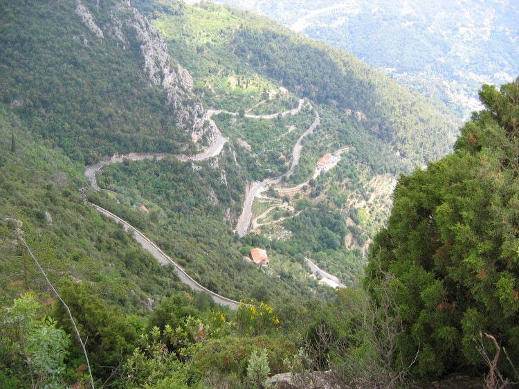 Looking down on a section of the Col de la Madone climb
